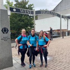 Sam and her team at the start of the West Highland Way